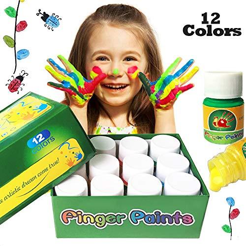 Happlee Washable Kids Finger Paint 12 Colors Paints for Toddlers Non-Toxic Kid's Fingerpaints Supplies 12x30ml(1.02 ()