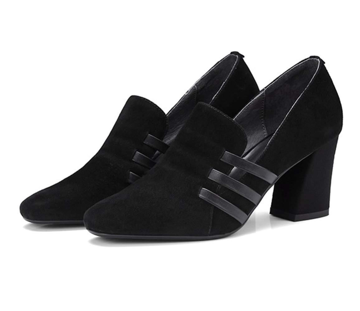 Shiney Frauen Single Schuhe Weibliche Leder 2018 Frühling Leder Weibliche Chunky Heel High Heel Runde Kopf Scrub Einfache Vielseitig Schwarz 5db85c