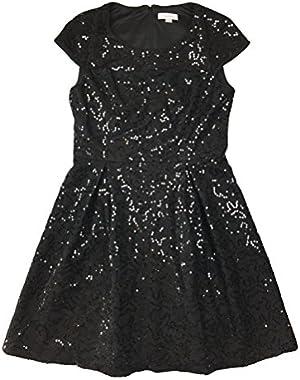 Womens Sequin Embellished Pleated Tea Dress Black 8