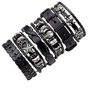 Moda Accessories Fashion Set of 6 Genuine Leather Multi Strand Stylish Bracelets for Men and Boys (Style 3)