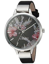 Nine West - Reloj de pulsera para mujer, color plateado y negro