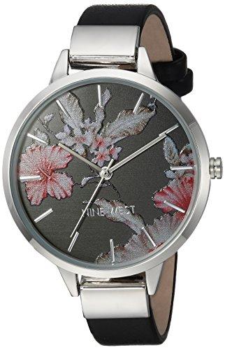 Nine West Women's Quartz Metal and Polyurethane Dress Watch, Color:Black (Model: NW/2045BKBK)