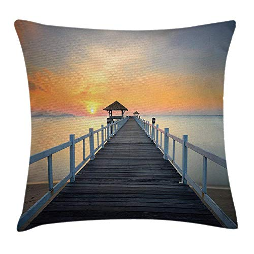 ZOZGETU Pillowcase,Apartment Decor Throw Pillow Cushion Cover, Long Exposure Deck Path Sea Shore Horizon Sunset Landscape, Decorative Cushion Cover Pillowcase Sofa 18