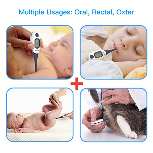 Digital Medical Thermometer, SEJOY 10-Second Fast Reading Temperature Thermometer with Flexible Tip, Large Digital Display, Waterproof & Fever Indicator for Infants, Children, Adults, Elderly & Pets by Sejoy (Image #4)