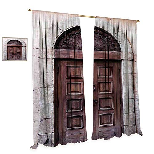 cobeDecor Rustic Room Darkening Wide Curtains Arched Wooden Venetian Door with Eastern Royal Ottoman Elements European Culture Customized Curtains W108 x L84 Brown Cream