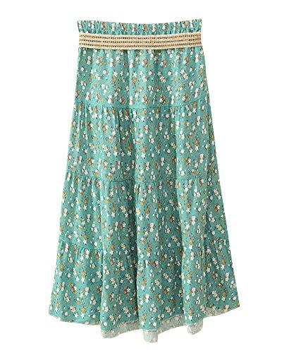 Jupe Femme Casual Style Imprim Floral Taille Haute Midi Longue Jupes Rtro Bohme Fleur Verte