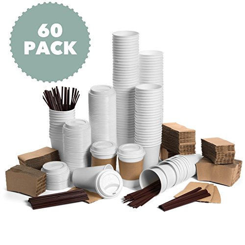 JUMBO Set of 60 Paper Coffee Hot Cups with Travel Lids, Sleeves, and Stirrers Disposable Coffee Cups - 12OZ WHITE Hot Cups To Go Travel Mug Office/Party Pack Tea & Chocolate …