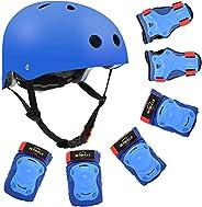 Kids Bike Helmet, Skateboard/Skate Helmet Adjustable for Kids Youth Adult, Knee Pads Elbow Pads Wrist Guards K