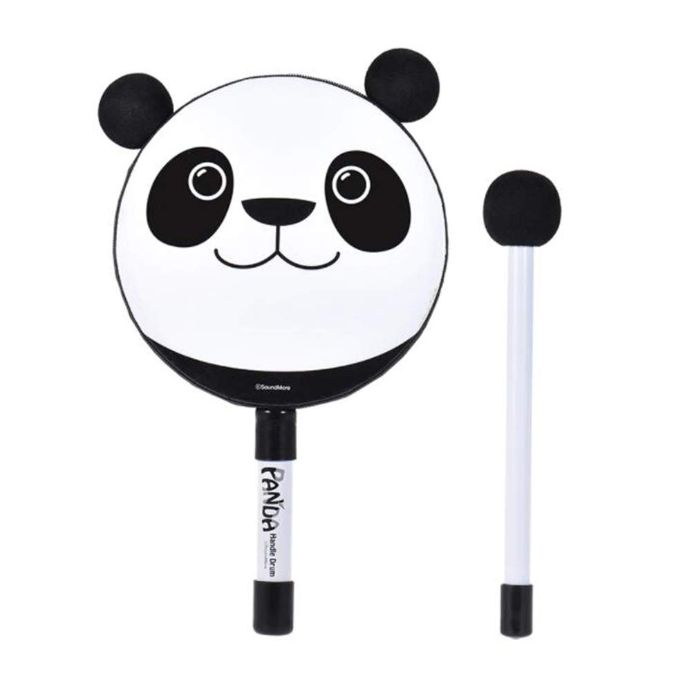 MG.QING 6in Hand held Tambourine Drums Bell Panda Percussion Musical Instrument Toy Gift with Mallet for Baby Children