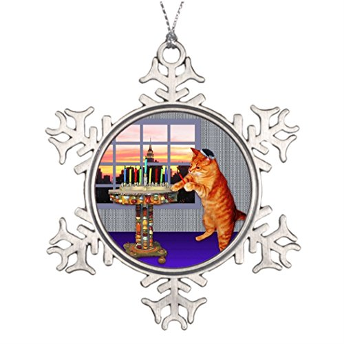 Cat Menorah (Tree Branch Decoration Menorah Cat Large Christmas Decorations Cat)
