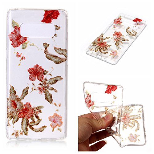 Clear Hybrid Fancy Colorful Pattern Hard Soft Silicone Back Case Cover for Samsung Galaxy Note 8 (Rhododendron) ()
