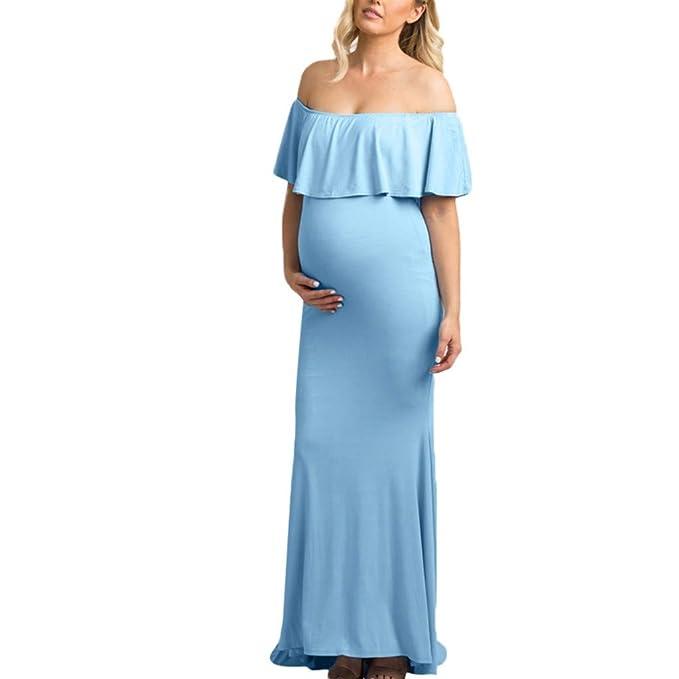 GUCIStyle Mujer Embarazada Largos Vestido, Volante Fruncido Dress Fotográficas de Maternidad Apoyos De Fotografía Fiesta Foto Shoot: Amazon.es: Ropa y ...