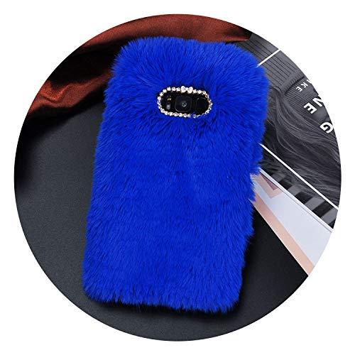 Luxury Fur Plush Diamond Phone Case for Samsung S6 S7 S6 S7 Edge S8 S9 Plus J5 J7 A5 A7 Lovely Cute Furry Warm Back Cover,Blue,for Samsung S9 Plus