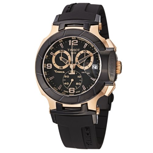 Tissot Men's T0484172705706 Rose Gold-Tone Watch with Bla...