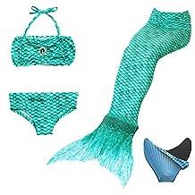 loenzo otiz Girls Mermaid swimwear and fins 4PC