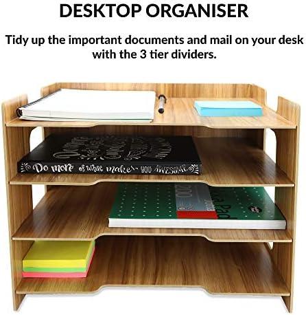 Wooden Desk Organizer | A4 Document Desk Organizer | Holzablagefächer | Aufbewahrung von Büromaterial | Briefständer | 4 Teiler | Pukkr