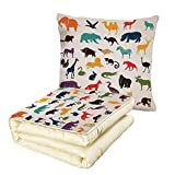 iPrint Quilt Dual-Use Pillow Zoo Big Set of African and European Animals Silhouettes in Cartoon Style Safari Wildlife Decorative Multifunctional Air-Conditioning Quilt Multicolor