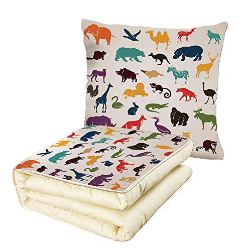 iPrint Quilt Dual-Use Pillow Zoo Big Set of African and European Animals Silhouettes in Cartoon Style Safari Wildlife Decorative Multifunctional Air-Conditioning Quilt Multicolor by iPrint