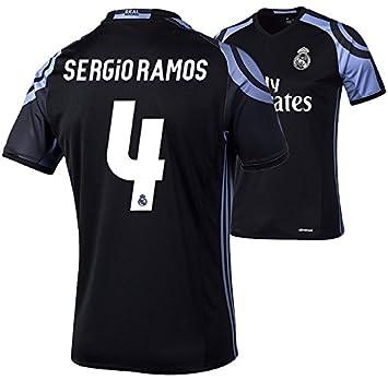 Camiseta infatil del Real Madrid, de adidas, réplica, negra, Sergio Ramos 4, 128: Amazon.es: Deportes y aire libre
