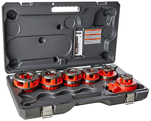 RIDGID 36475 Exposed Ratchet Threader Set, Model 12-R Ratcheting Pipe Threading Set of 1/2-Inch to 2-Inch NPT Pipe Threading Dies and Manual Ratcheting Pipe Threader with Carrying Case Pipe Threading Set