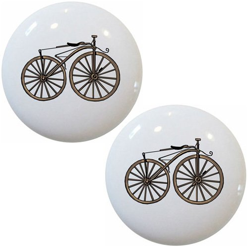 Set of 2 Vintage Bicycle Ceramic Cabinet Drawer Pull Knobs (Novelty Cabinet Pulls)