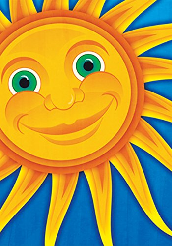 Toland Home Garden Smiling Sun 28 x 40 Inch Decorative Colorful Summer Sunshine Smile House Flag ()