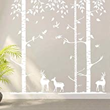 BATTOO Birch Tree Wall Decals Sticker Set with Birds and Deers Decal Elks Wall Decal Forest Vinyl Wall Sticker(5 feet, white)