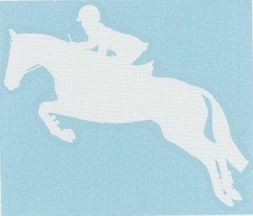 English Equestrian Hunter Jumper Horse Decal-Small White Left Facing