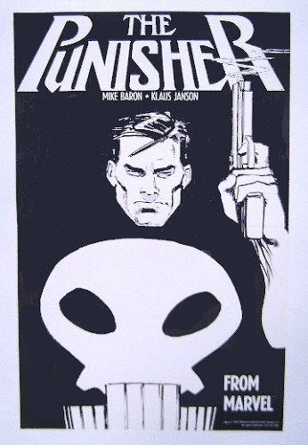 1987 Punisher poster! Rare vintage original 1980's factory folded 17 inch by 11 inch Marvel Comics The Punisher promotional promo poster pin-up, with art by Klaus Janson (Folded Promo Poster)