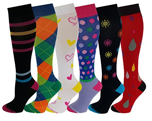 6 Pairs Pack Women Travelers, Anti-Fatigue, Graduated Compression Knee High Socks 9-11 (Assorted Printed #D) (Patterns Hand Splint)