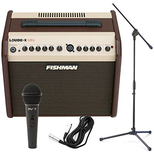 Price comparison product image Fishman Loudbox Mini 60Watt Two Channel Acoustic Amp w / Dynamic Microphone,  Cable,  and Boom Stand!
