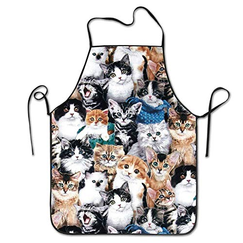Suniy Cute Kitty Cat Baby Personalized Aprons Professional Bib Apron for Women Men Girl Kids Gifts Kitchen Decorations (Oilcloth Baby Bib)