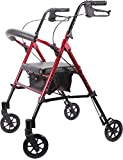 Viverity MRT-413A-RR Deluxe Height Adjustable Aluminum Rollator, Red