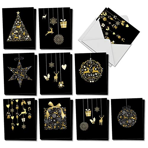 Golden Holidays - 20 Assorted Blank Merry Christmas Cards with Envelopes (4 x 5.12 Inch) - Holiday Notecard Set with Photos of Ornaments, Reindeer, Xmas Tree (10 Designs, 2 Cards - Ornament Holiday Golden