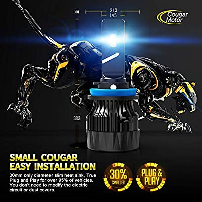 Cougar Motor X-Small H11 H8 H9 LED Headlight Bulb, 10000Lm 6500K All-in-One Conversion Kit - Cool White CREE: Automotive