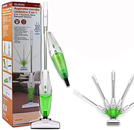 SILVANO Aspirador ciclonico 2 en 1 de Escoba Convertible en aspiradora de Mano con Solo apretar un Boton 800W Color Verde Gran Potencia: Amazon.es: Hogar