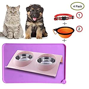 TGLBT Double Dog Cat Bowls Premium Stainless Steel Pet Bowls No-Spill Resin Station, Food Water Feeder Cats Small Dogs