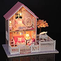 Cuteroom 1/24 DIY Wooden Dollhouse Pink Cherry Handmade Decorations Model with LED Light&Music Birthday