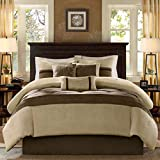7 Piece Queen Brown Stripes Comforter Set, Luxury Modern Bedding, Natural Medium Brown Light Taupe, Classic Patterned Designs, For Master Bedrooms