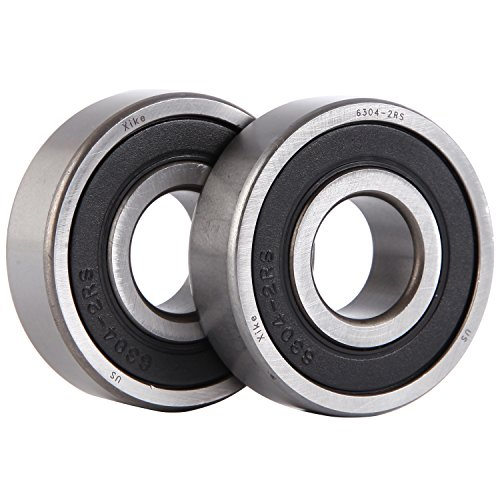 (XiKe 2 Pcs 6304-2RS Double Rubber Seal Bearings 20x52x15mm, Pre-Lubricated and Stable Performance and Cost Effective, Deep Groove Ball Bearings.)