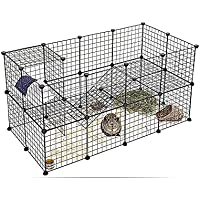 AccLoo Pet Fence, 12 Pieces DIY Metal Wire Pet Playpen, Pet Carrier Play Yard Fence for Small Pets - Rabbit, Guinea Pigs…