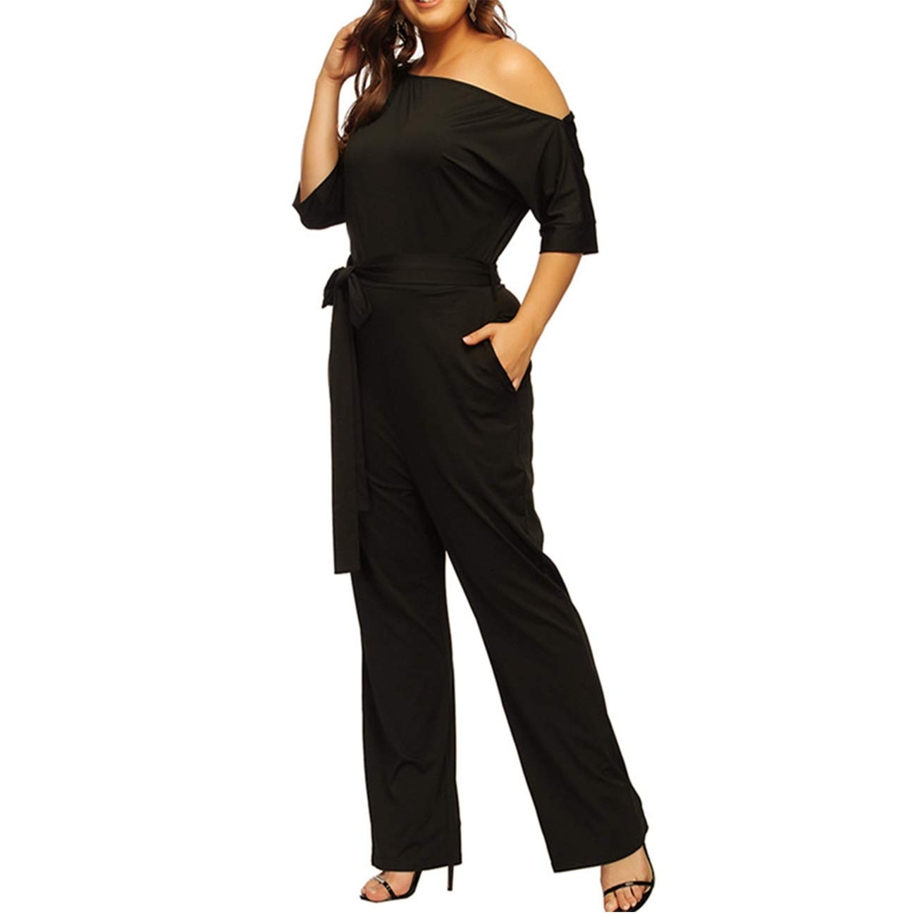 Women's Fashion Off-Shoulder Plus Size Jumpsuits Rompers with Belt