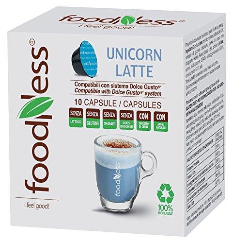 """10 Cápsulas de """"Unicorn Latte"""" Bebida Azul Foodness. Compatibles con Cafeteras Dolce Gusto"""