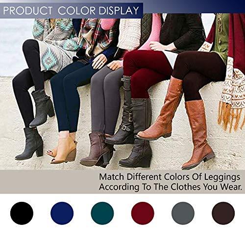 Rither Womens Fleece Lined Leggings - High Waist, Ultra Soft, Full Ankle Length - Basic Leggings