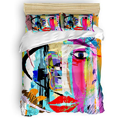 Home Bedding 4 Piece Set Full Size Include Duvet Cover, Flat Sheet, Pillow Shams Art Street Paint Abstract Face Printing Soft Duvet Cover Set for Children/Adults/Teen]()