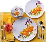 Euro Ceramica Tiger Lilly Collection 16 Piece Porcelain Dinnerware Set, Service for 4, Vivid Floral Decal, Multicolor Review