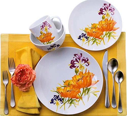 Euro Ceramica Tiger Lilly Collection 16 Piece Porcelain Dinn