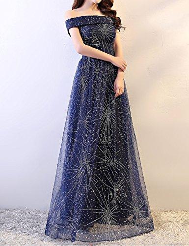 Damen Schulterfrei Lang LuckyShe Elegant Dunkelblau Abendkleider Ballkleid UdqtdHxn8