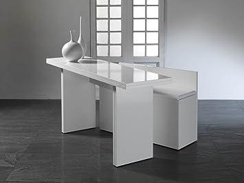 anzio erweiterbar konsole tisch esstisch modern wei poliert - Erweiterbare Konsole Esstisch