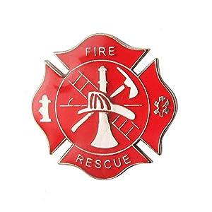 Treasure Gurus Fire Dept Maltese Cross Firefighter Collar Lapel Scramble Pin Tie Tack